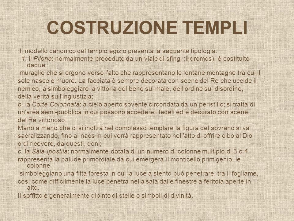 COSTRUZIONE TEMPLI Il modello canonico del tempio egizio presenta la seguente tipologia: