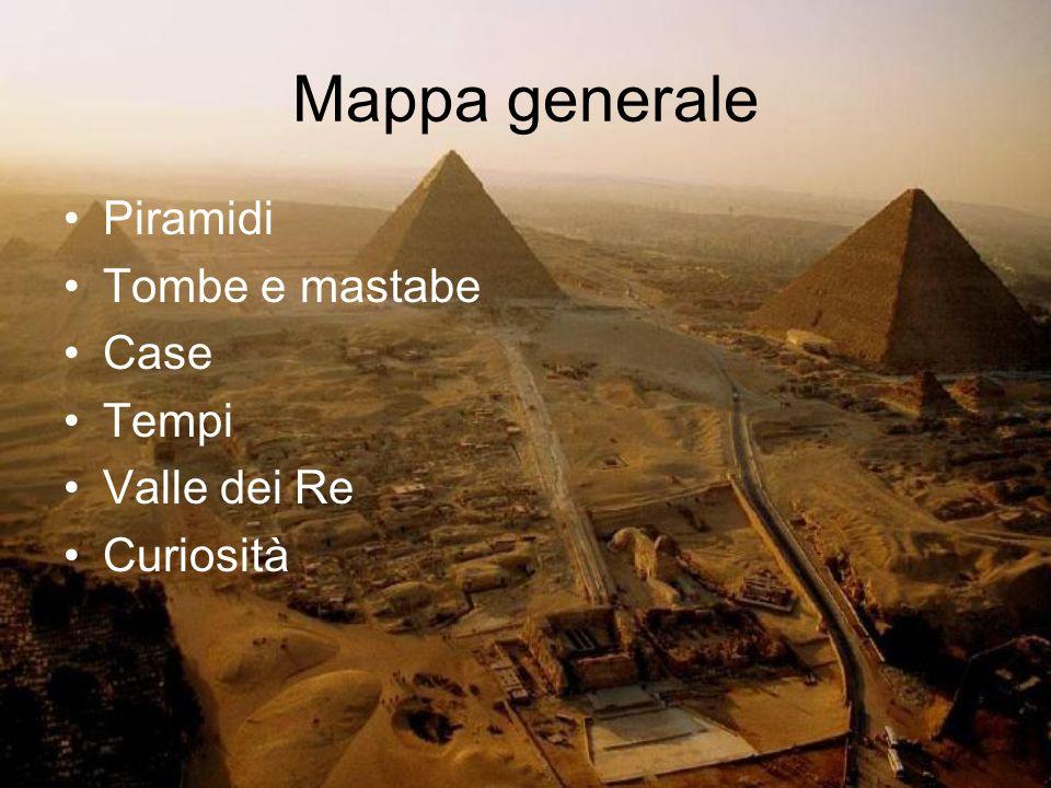 Mappa generale Piramidi Tombe e mastabe Case Tempi Valle dei Re