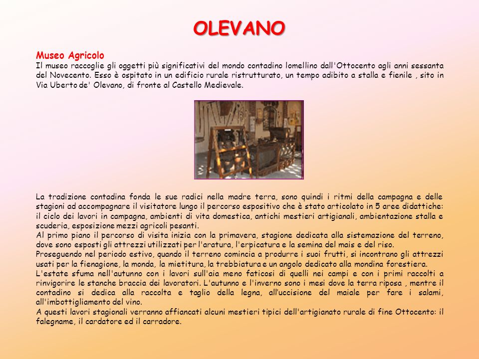 OLEVANO Museo Agricolo