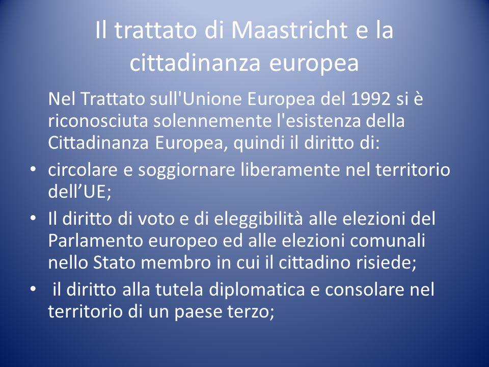 Il trattato di Maastricht e la cittadinanza europea