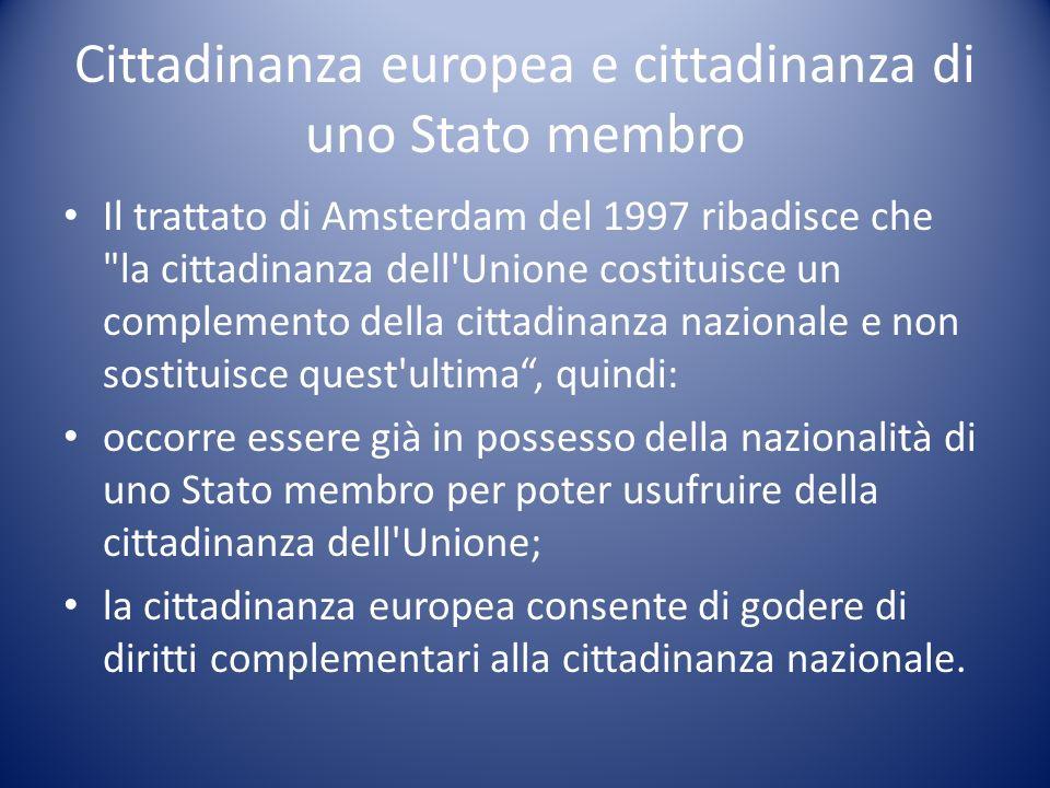 Cittadinanza europea e cittadinanza di uno Stato membro