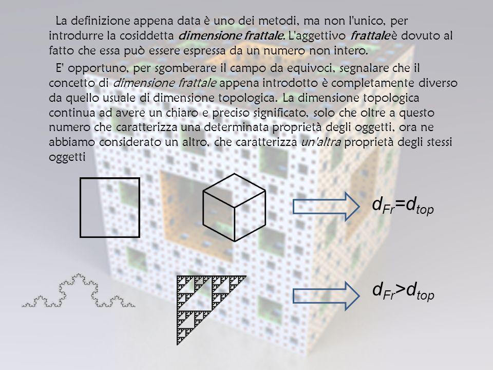 La definizione appena data è uno dei metodi, ma non l unico, per introdurre la cosiddetta dimensione frattale. L aggettivo frattale è dovuto al fatto che essa può essere espressa da un numero non intero. E opportuno, per sgomberare il campo da equivoci, segnalare che il concetto di dimensione frattale appena introdotto è completamente diverso da quello usuale di dimensione topologica. La dimensione topologica continua ad avere un chiaro e preciso significato, solo che oltre a questo numero che caratterizza una determinata proprietà degli oggetti, ora ne abbiamo considerato un altro, che caratterizza un altra proprietà degli stessi oggetti