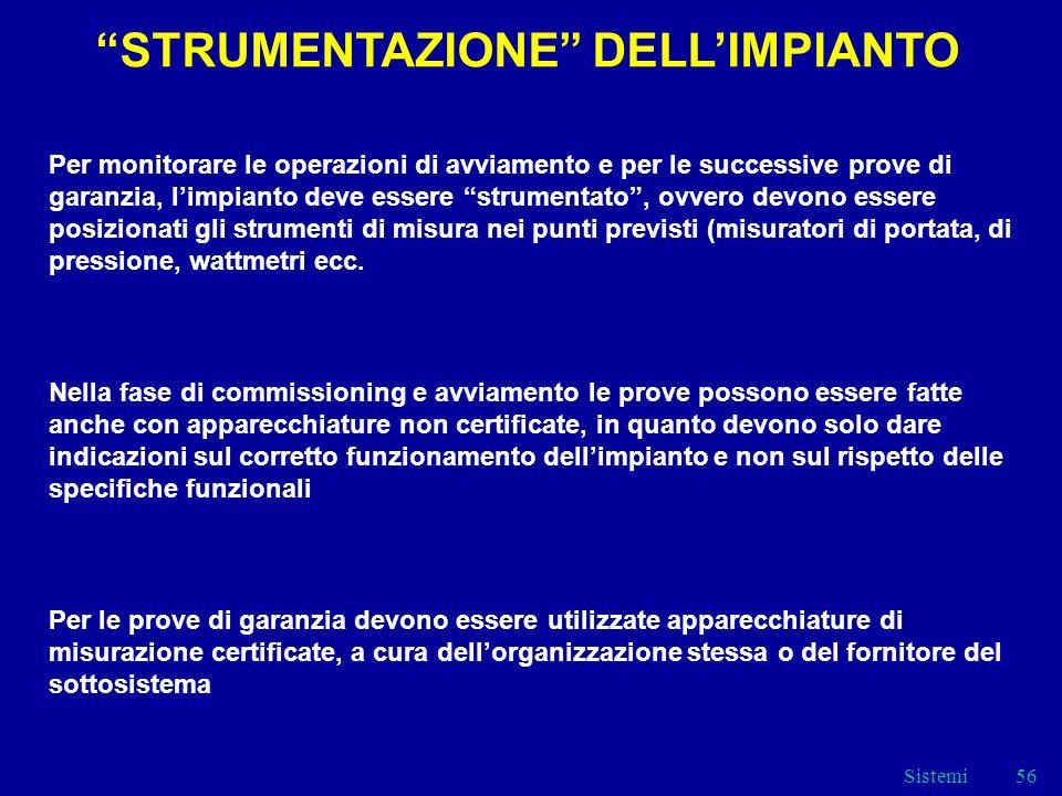 STRUMENTAZIONE DELL'IMPIANTO