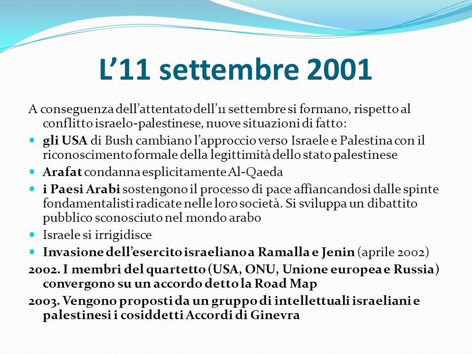 L'11 settembre 2001 A conseguenza dell'attentato dell'11 settembre si formano, rispetto al conflitto israelo-palestinese, nuove situazioni di fatto: