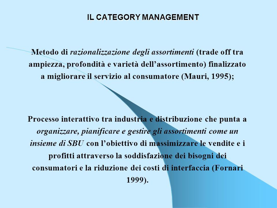 IL CATEGORY MANAGEMENT