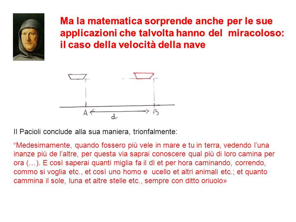 Ma la matematica sorprende anche per le sue applicazioni che talvolta hanno del miracoloso: il caso della velocità della nave