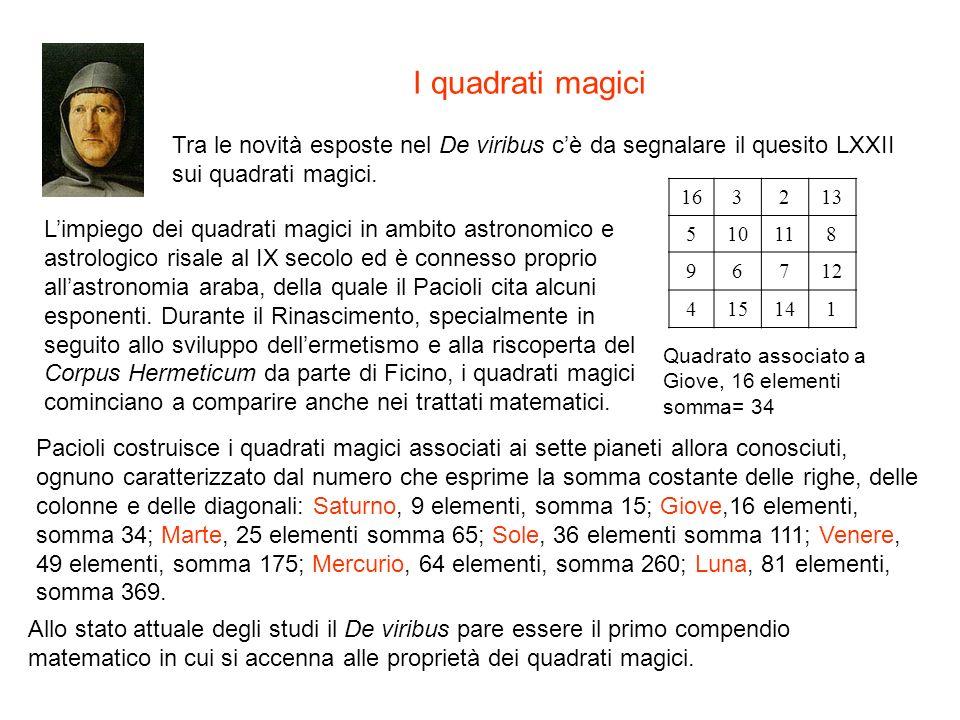 I quadrati magici Tra le novità esposte nel De viribus c'è da segnalare il quesito LXXII sui quadrati magici.
