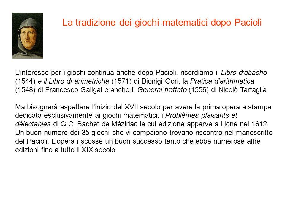 La tradizione dei giochi matematici dopo Pacioli