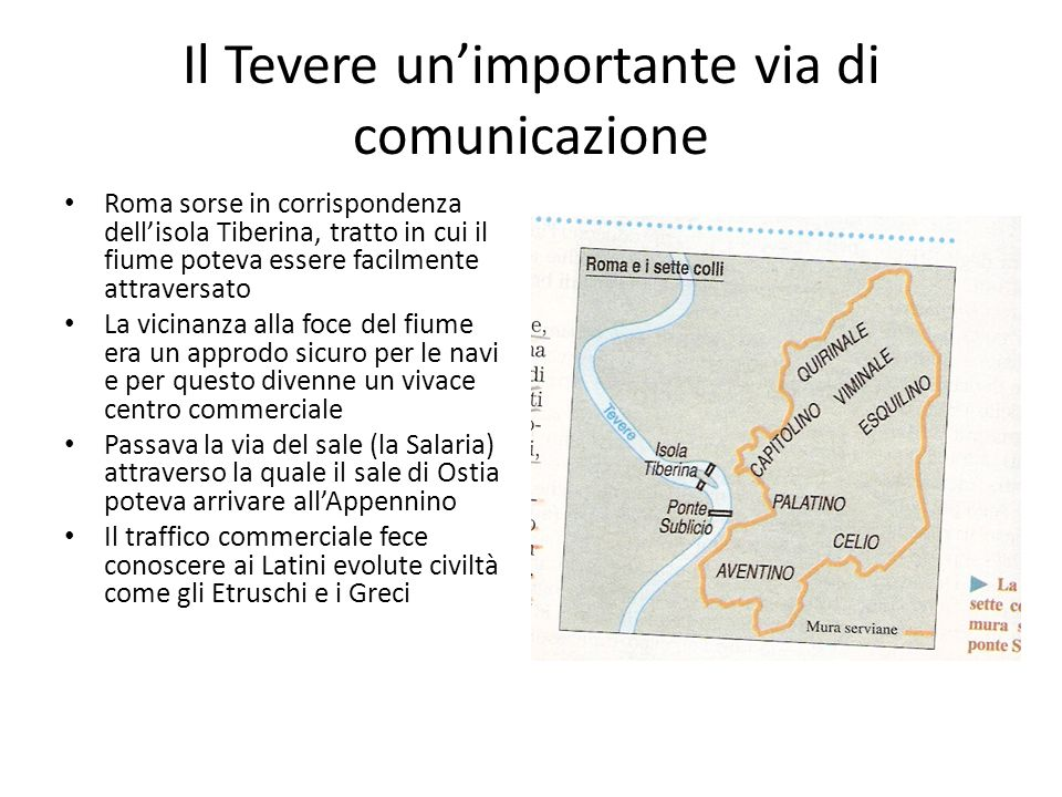 Il Tevere un'importante via di comunicazione