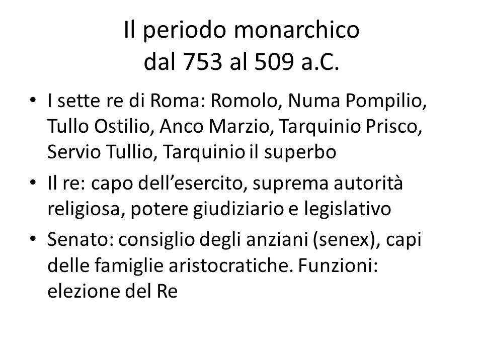 Il periodo monarchico dal 753 al 509 a.C.