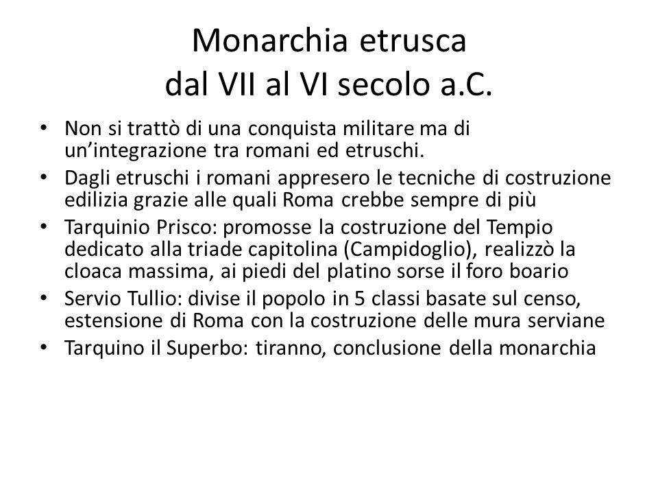 Monarchia etrusca dal VII al VI secolo a.C.