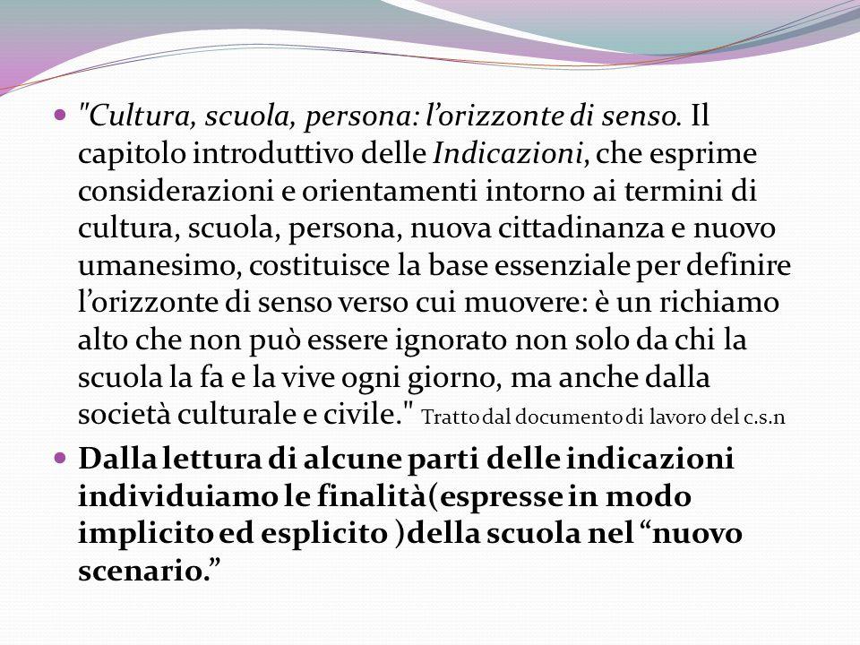Cultura, scuola, persona: l'orizzonte di senso