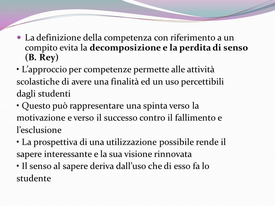La definizione della competenza con riferimento a un compito evita la decomposizione e la perdita di senso (B. Rey)