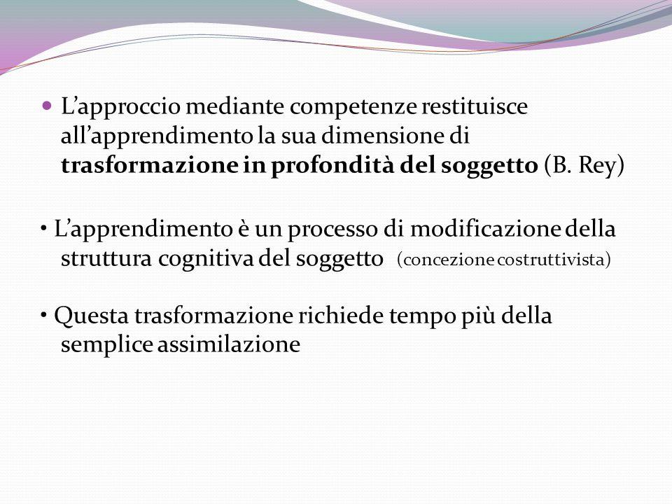 L'approccio mediante competenze restituisce all'apprendimento la sua dimensione di trasformazione in profondità del soggetto (B. Rey)