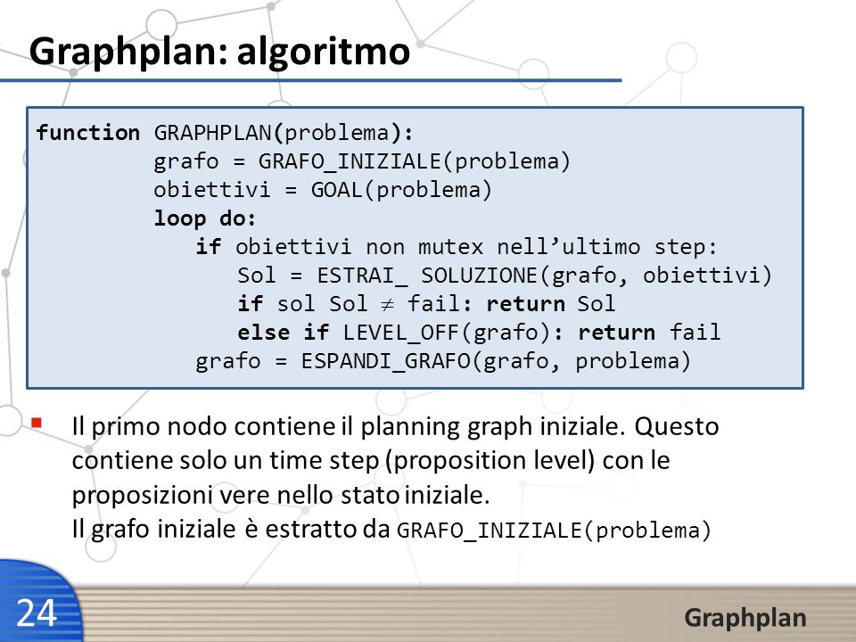 Graphplan: algoritmo function GRAPHPLAN(problema): grafo = GRAFO_INIZIALE(problema) obiettivi = GOAL(problema)