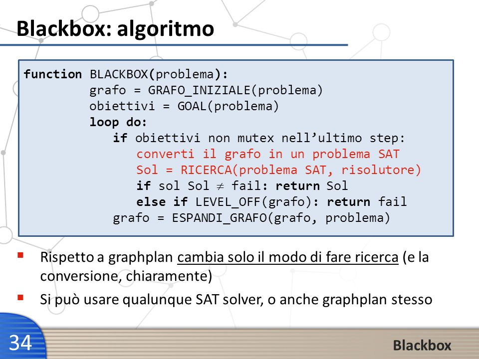 Blackbox: algoritmo function BLACKBOX(problema): grafo = GRAFO_INIZIALE(problema) obiettivi = GOAL(problema)
