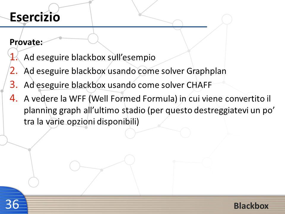 Esercizio Provate: Ad eseguire blackbox sull'esempio