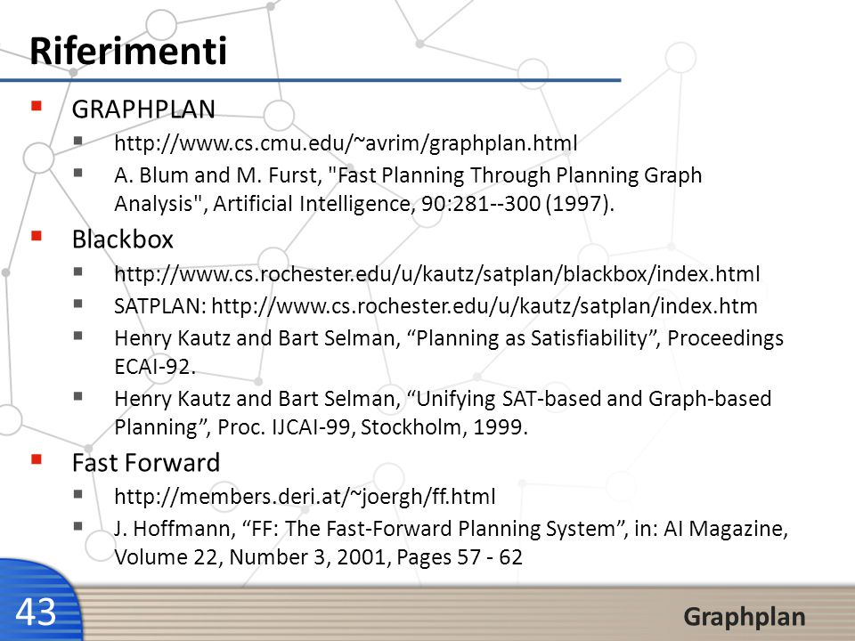 Riferimenti GRAPHPLAN Blackbox Fast Forward Graphplan