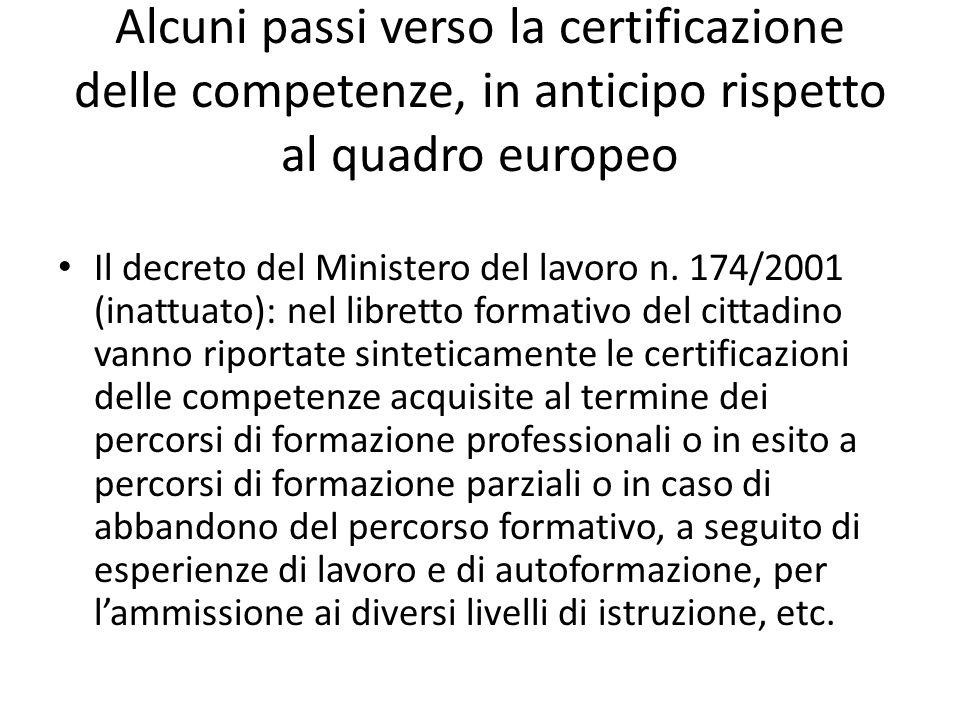 Alcuni passi verso la certificazione delle competenze, in anticipo rispetto al quadro europeo