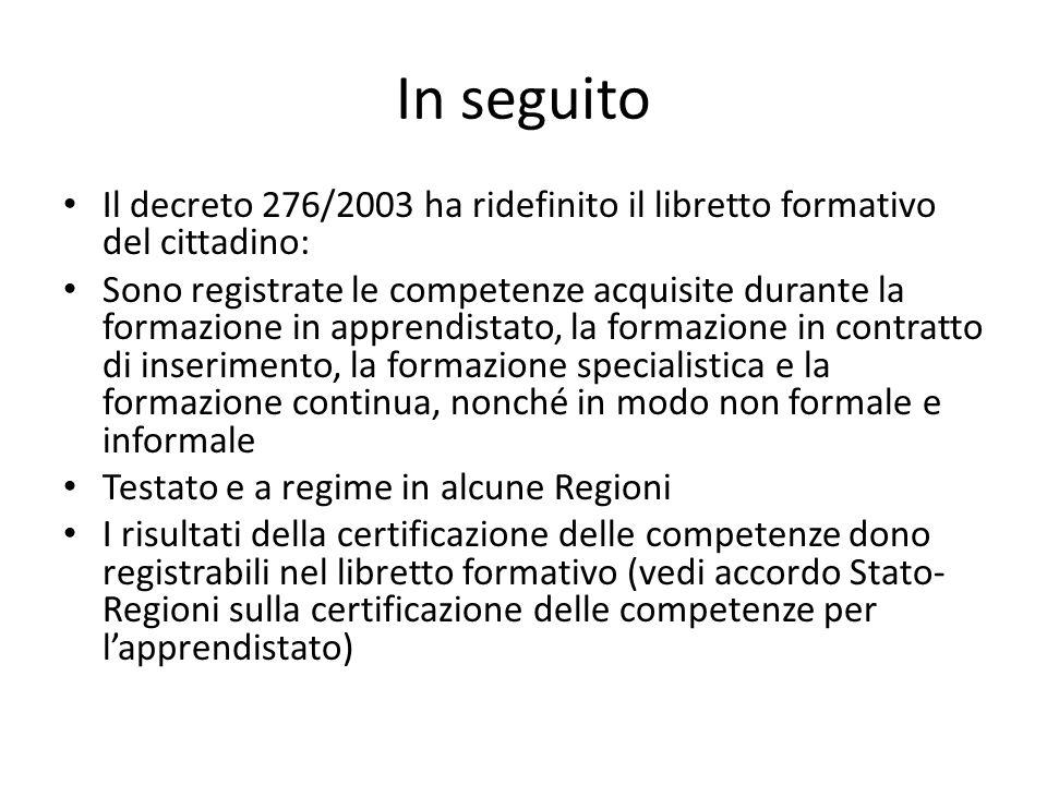 In seguito Il decreto 276/2003 ha ridefinito il libretto formativo del cittadino: