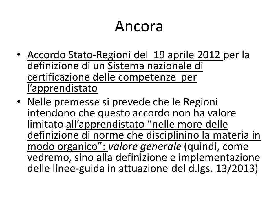 Ancora Accordo Stato-Regioni del 19 aprile 2012 per la definizione di un Sistema nazionale di certificazione delle competenze per l'apprendistato.