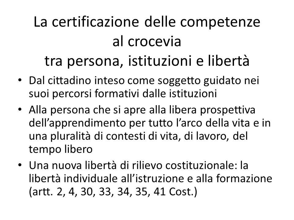 La certificazione delle competenze al crocevia tra persona, istituzioni e libertà