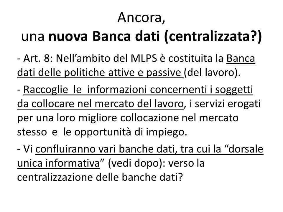 Ancora, una nuova Banca dati (centralizzata )
