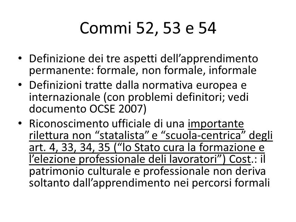 Commi 52, 53 e 54 Definizione dei tre aspetti dell'apprendimento permanente: formale, non formale, informale.
