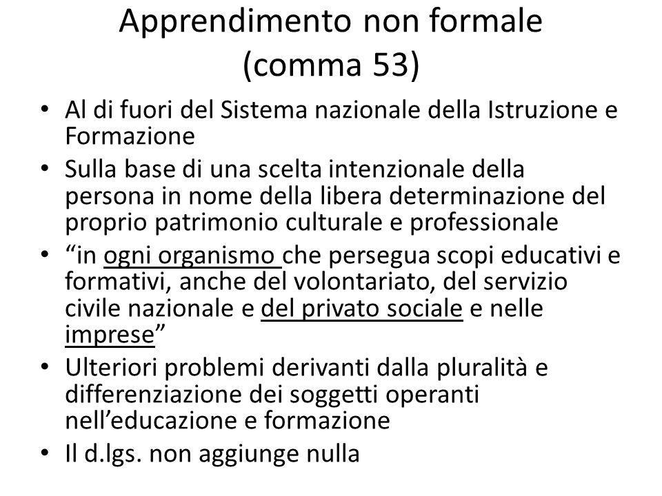 Apprendimento non formale (comma 53)