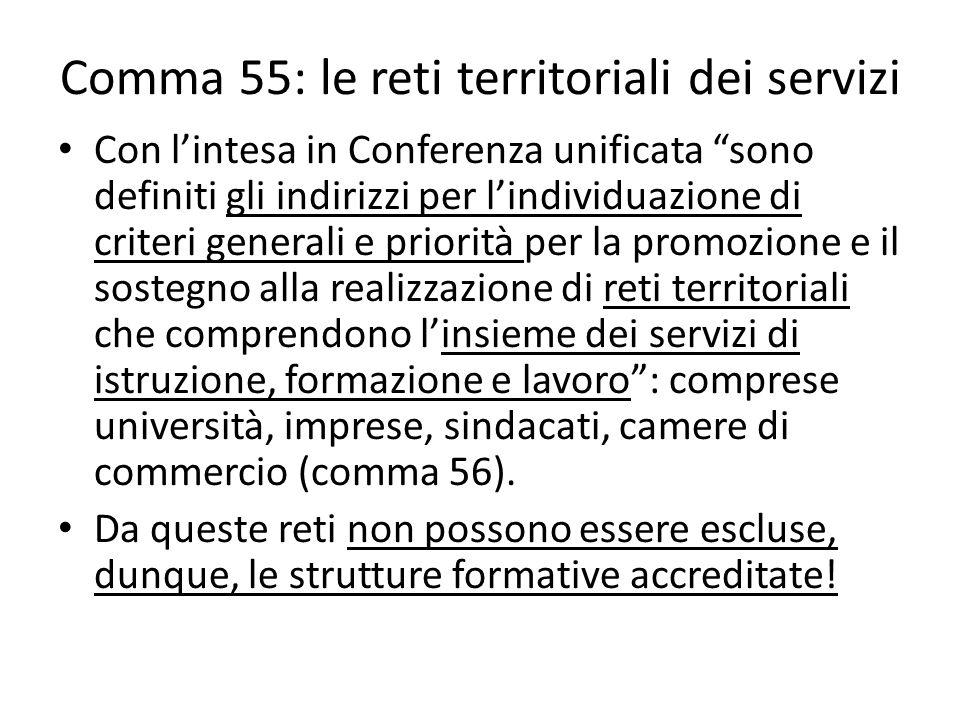 Comma 55: le reti territoriali dei servizi
