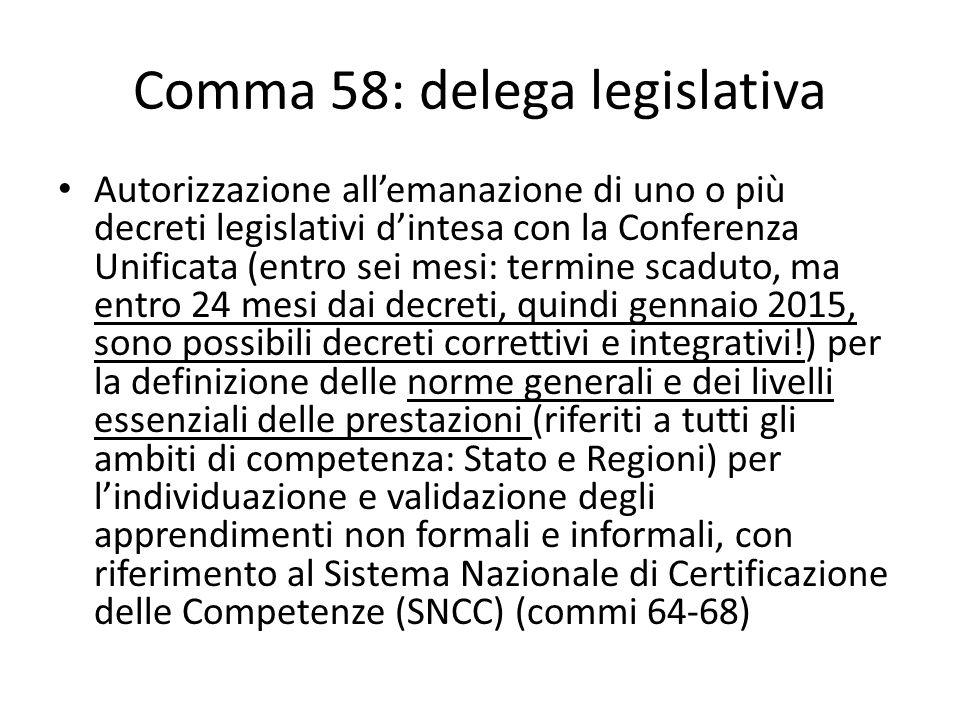 Comma 58: delega legislativa