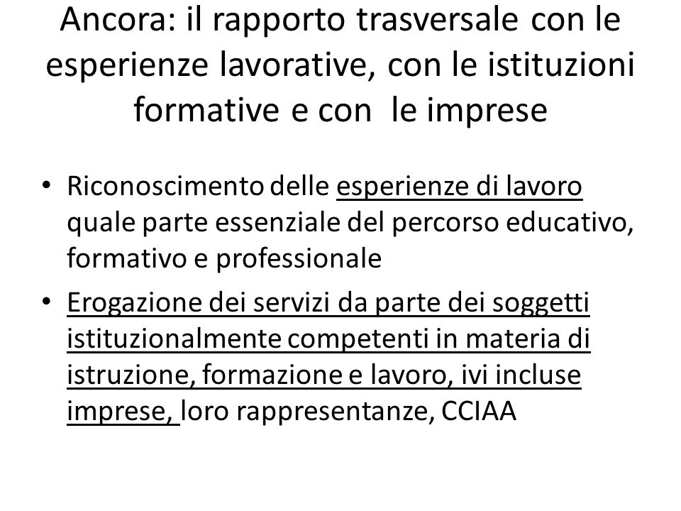 Ancora: il rapporto trasversale con le esperienze lavorative, con le istituzioni formative e con le imprese