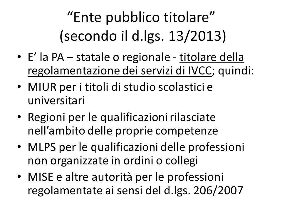 Ente pubblico titolare (secondo il d.lgs. 13/2013)