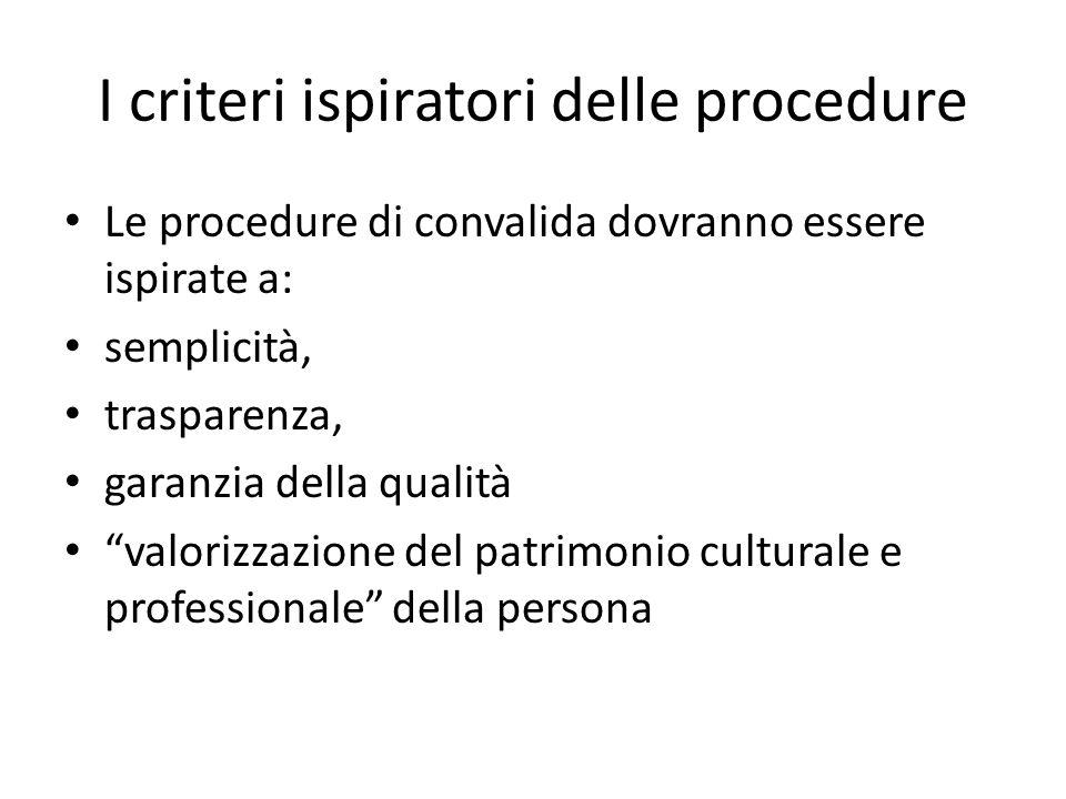 I criteri ispiratori delle procedure
