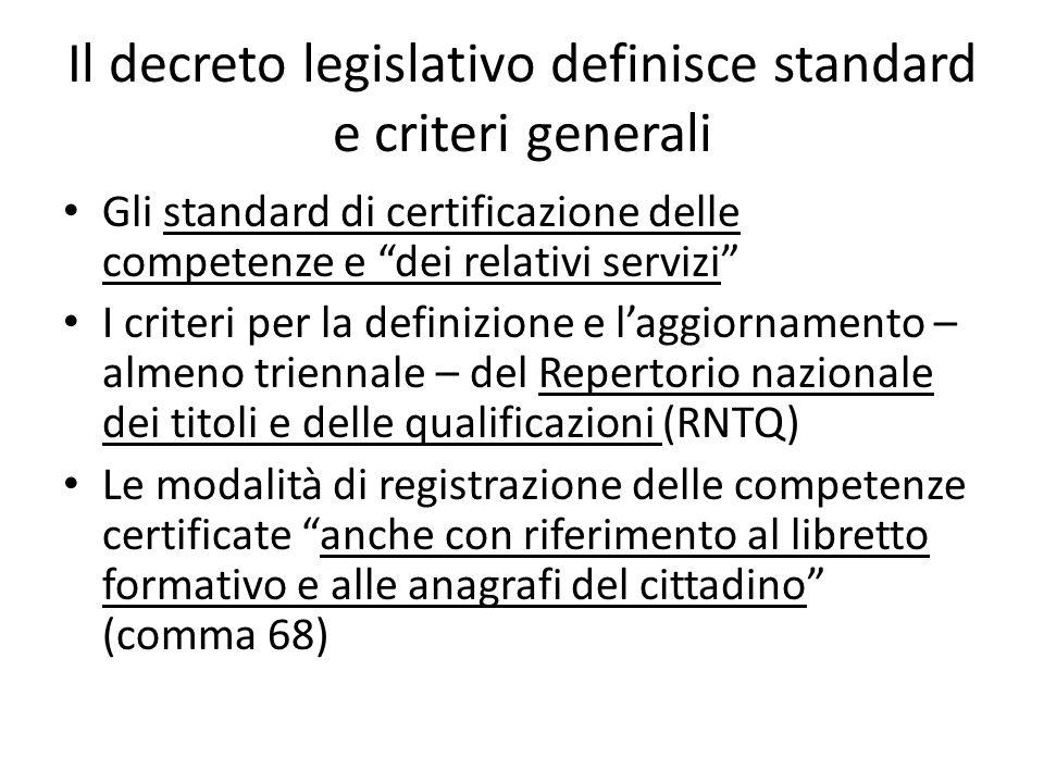 Il decreto legislativo definisce standard e criteri generali