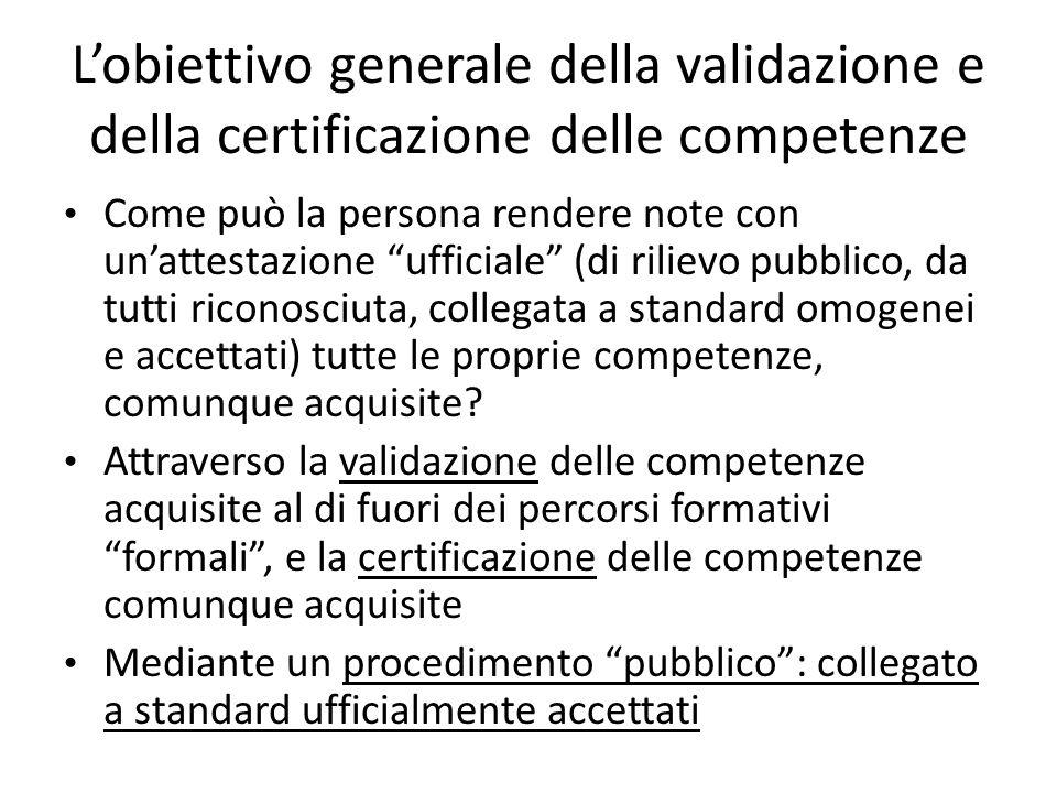 L'obiettivo generale della validazione e della certificazione delle competenze
