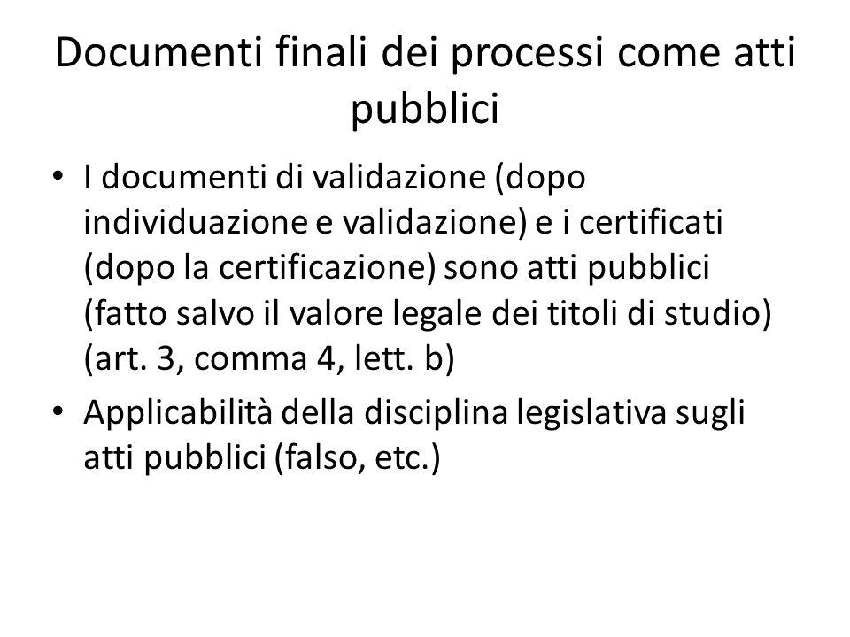 Documenti finali dei processi come atti pubblici