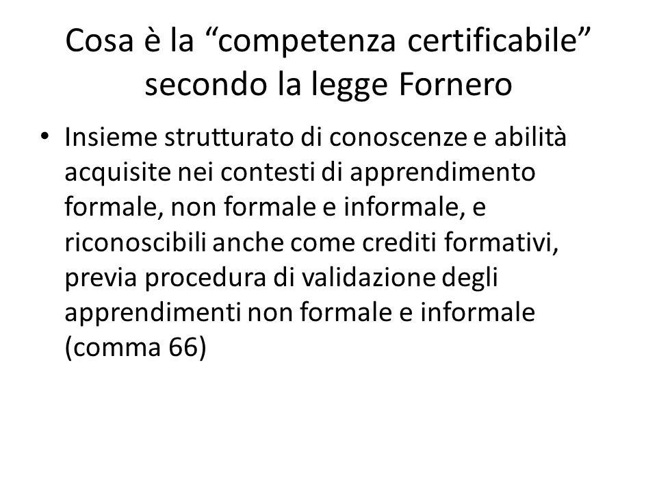 Cosa è la competenza certificabile secondo la legge Fornero