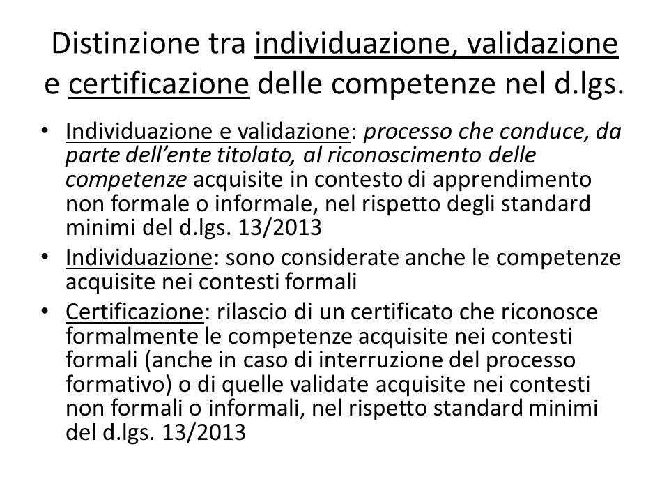 Distinzione tra individuazione, validazione e certificazione delle competenze nel d.lgs.