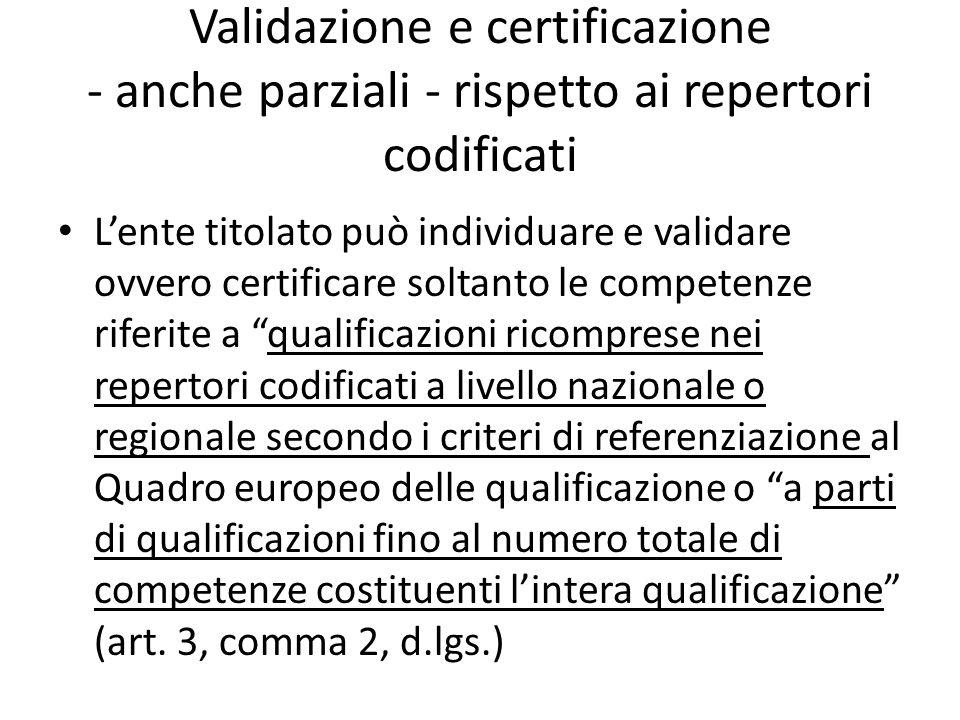 Validazione e certificazione - anche parziali - rispetto ai repertori codificati