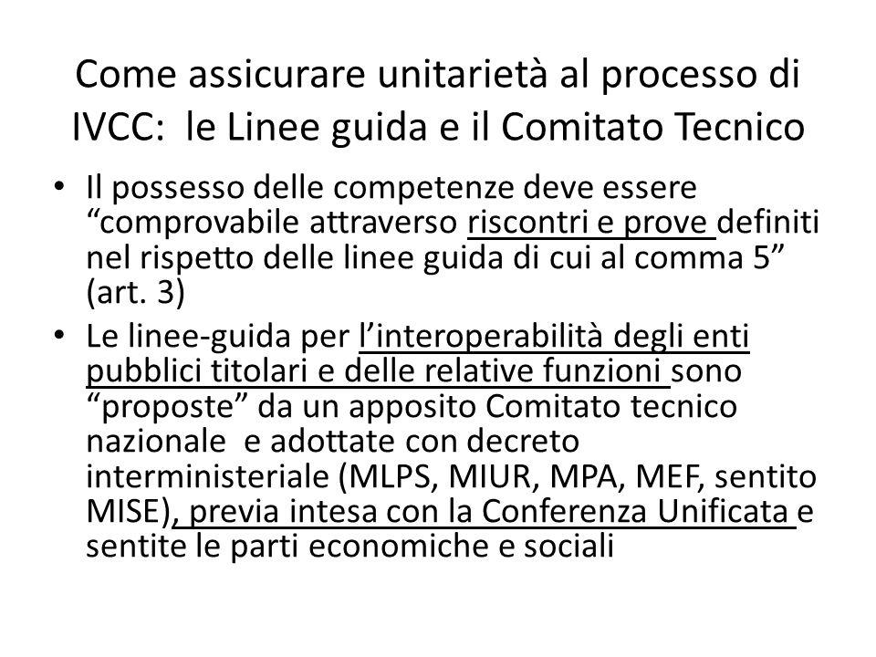 Come assicurare unitarietà al processo di IVCC: le Linee guida e il Comitato Tecnico