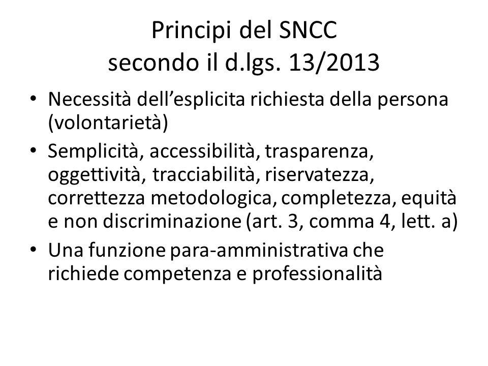 Principi del SNCC secondo il d.lgs. 13/2013
