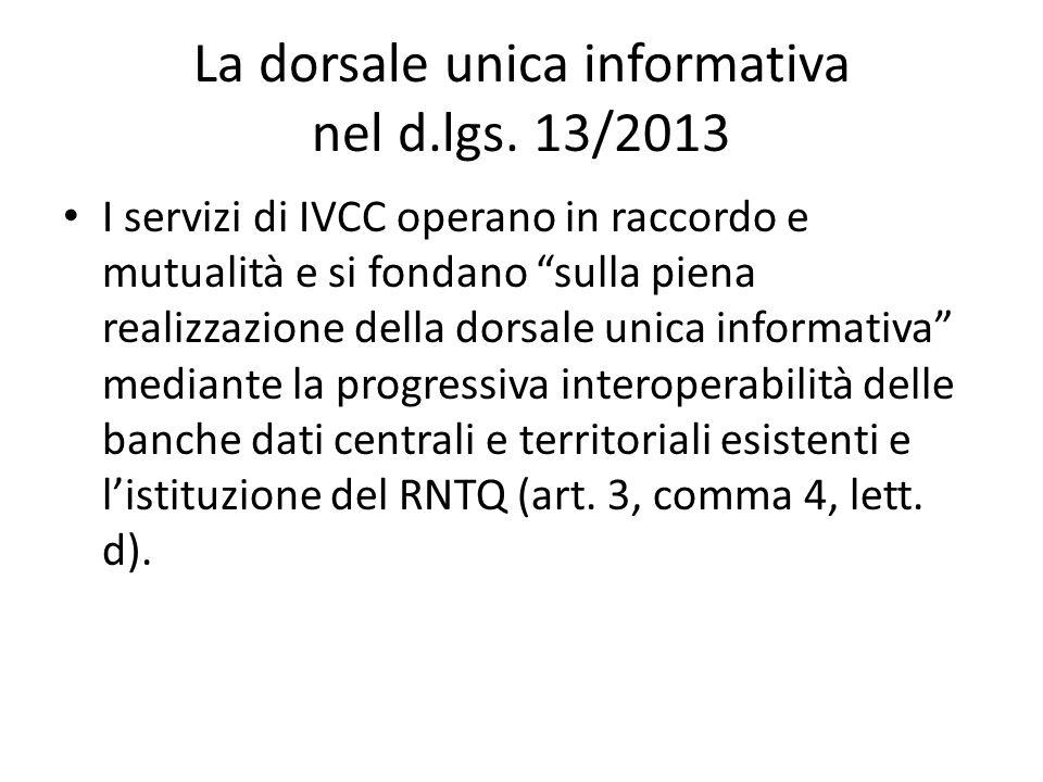 La dorsale unica informativa nel d.lgs. 13/2013