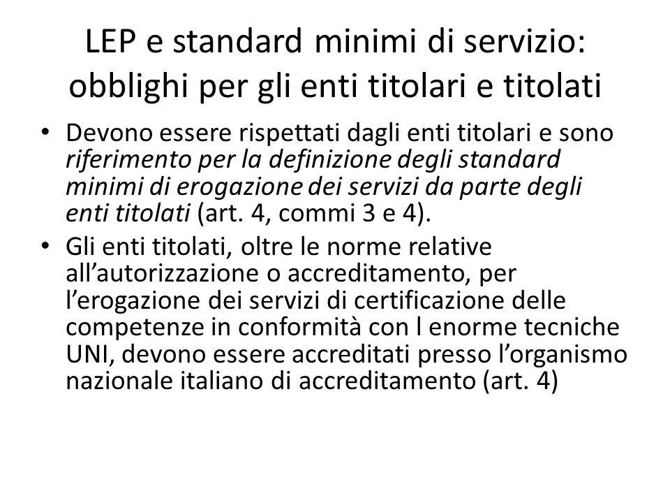 LEP e standard minimi di servizio: obblighi per gli enti titolari e titolati