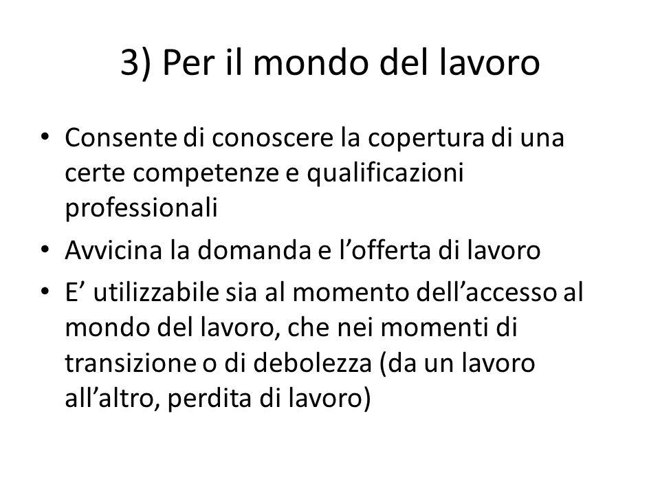 3) Per il mondo del lavoro