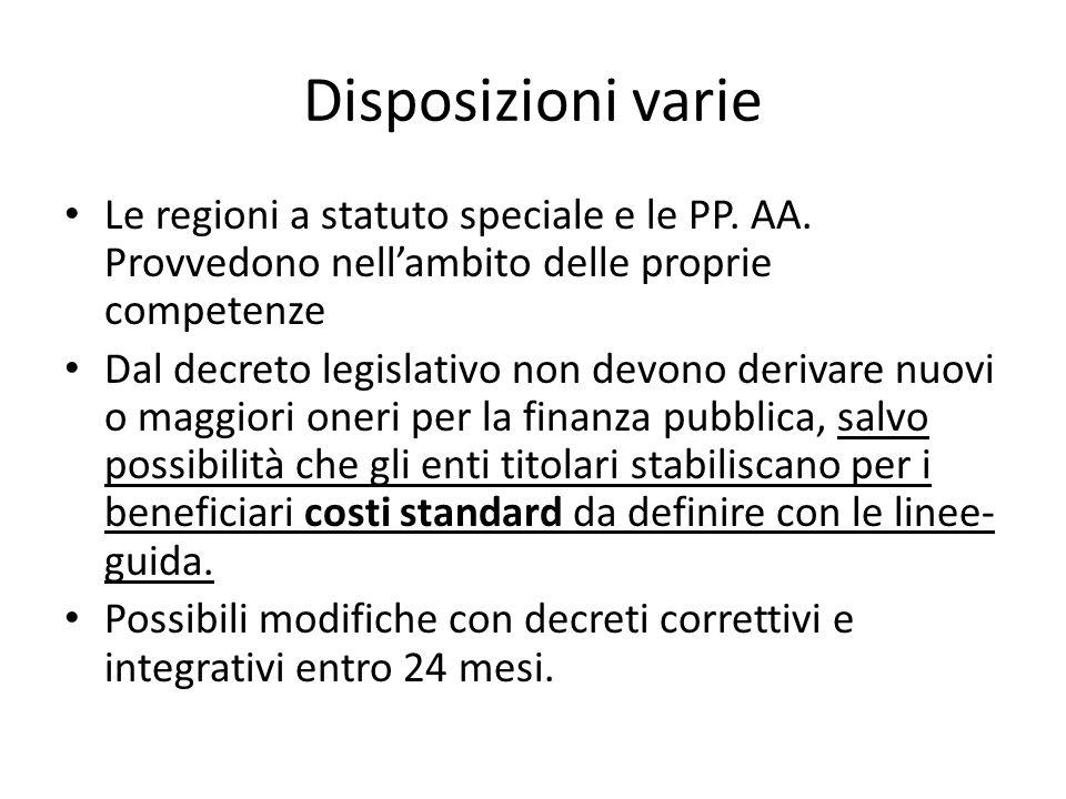 Disposizioni varie Le regioni a statuto speciale e le PP. AA. Provvedono nell'ambito delle proprie competenze.