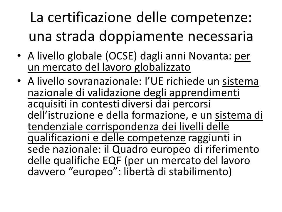 La certificazione delle competenze: una strada doppiamente necessaria