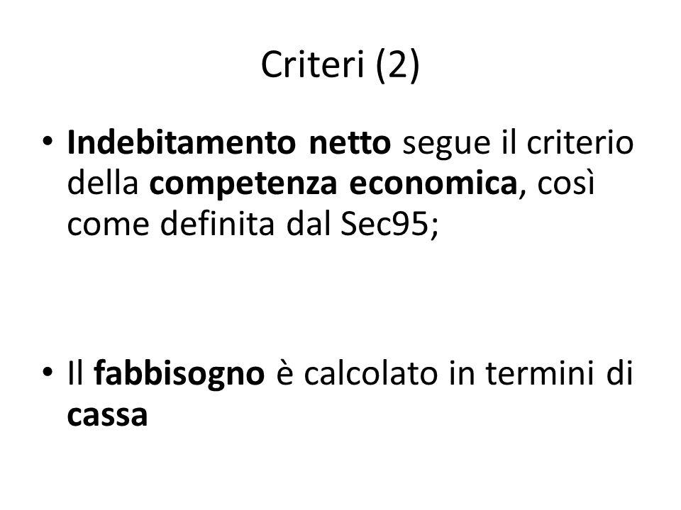 Criteri (2)Indebitamento netto segue il criterio della competenza economica, così come definita dal Sec95;