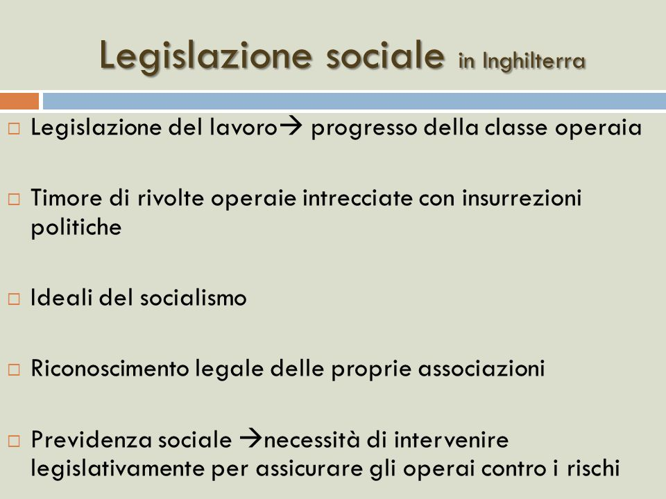 Legislazione sociale in Inghilterra
