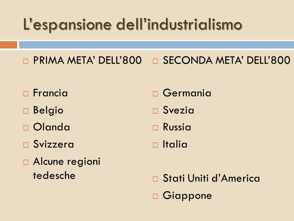 L'espansione dell'industrialismo